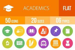 50 Academics Flat Round Icons