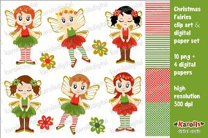 Christmas fairies - clip art set