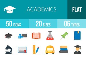 50 Academics Flat Multicolor Icons