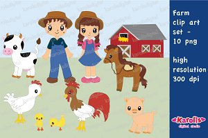 Farm - digital clip art set