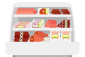 Meat products in store