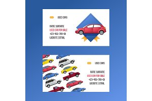 Car vector business card rental van