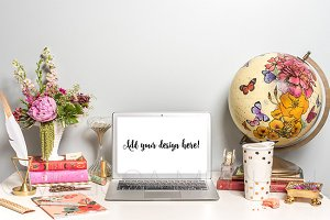 Pink & Chic Macbook Styled Mockup#20