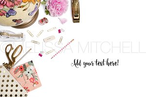 Pink & Gold Styled Desktop Mockup#33