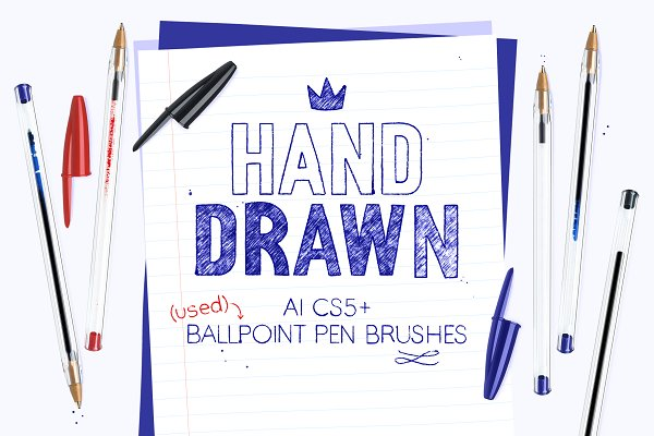 Illustrator Brushes: Side Project - AI used ballpoint pen brushes