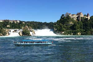 Ship on the river by the rhine falls