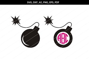 Bomb svg,Bomb monogram,cricut files