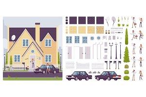 Suburban house creation set