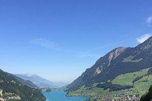 Scenic lake panorama in switzerland