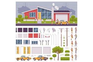 Modern suburban house creation set