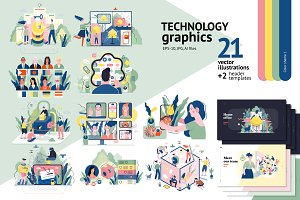 Technology graphics set, color 1