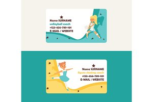 Child in sport vector business card