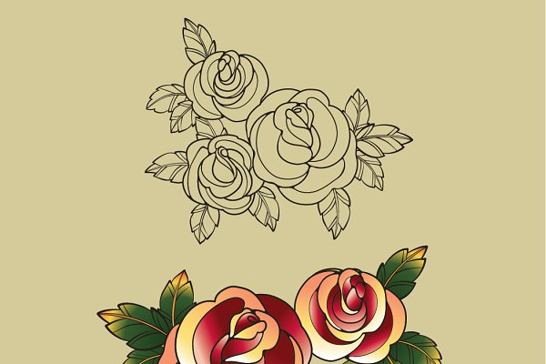 Old school tatto rose bouquet