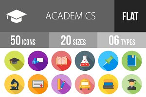 50 Academics Flat Shadowed Icons