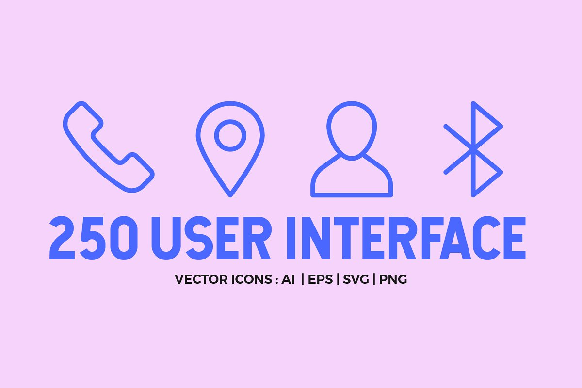 250 User Interface Line Icons
