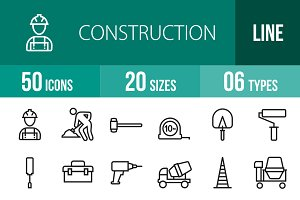 50 Construction Line Icons