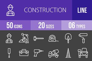 50 Construction Line Inverted Icons