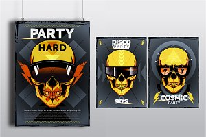 Vector template poster with skull