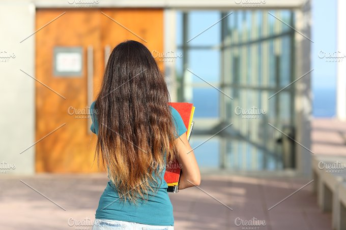 Back view of a teen girl walking towards the school.jpg - Education