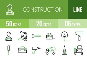 50 Construction Green & Black Icons