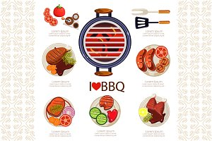 BBQ Infographics, barbecue elements