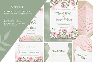 Green Wedding Invitation Suite