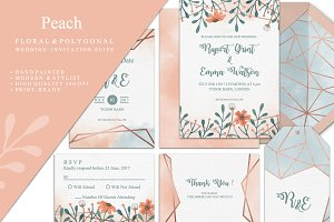 Peach Wedding Invitation Suite
