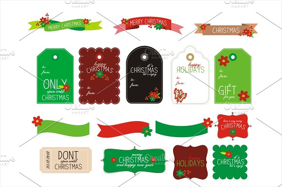 Christmas Gift Tags and Frames SALE ~ Card Templates ~ Creative Market
