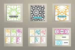 Set book covers abstract hexagon