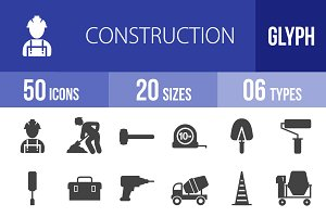 50 Construction Glyph Icons