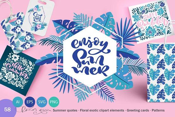 Summer Exotic Palm Design Elements