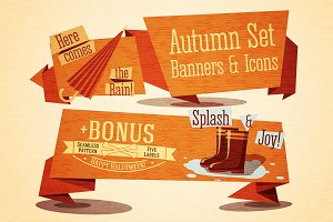 Set of Cute Autumn Banners & Icons