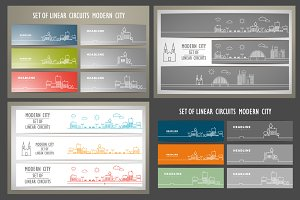 Vector set design silhouette city