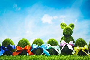 Grassy Easter eggs and bunny