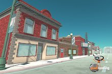 Small Town Main Street:Toon Low Poly by  in Urban