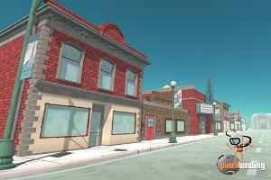 Small Town Main Street:Toon Low Poly