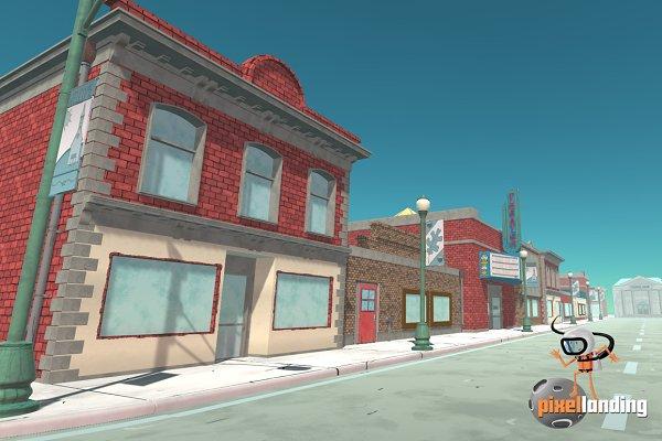 3D Urban: Pixel Landing - Small Town Main Street:Toon Low Poly