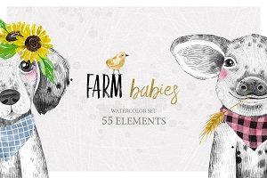FARM BABIES watercolor set