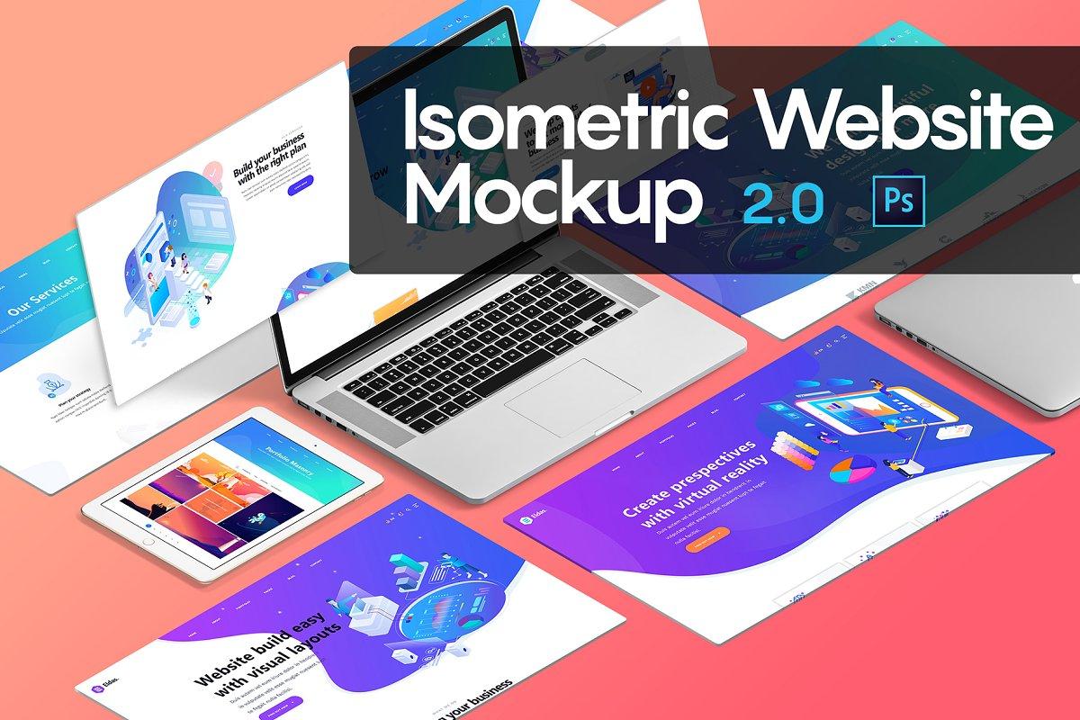 Isometric Website Mockup 2 0 Creative Mobile Web Mockups