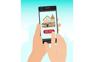 Rent home concept banner vector