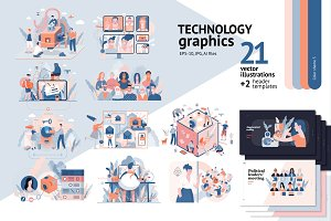 Technology graphics set, color 3