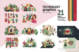 Technology graphics set, color 2