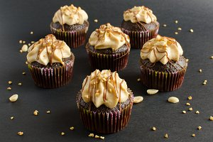 Chocolate cupcakes with peanut cream