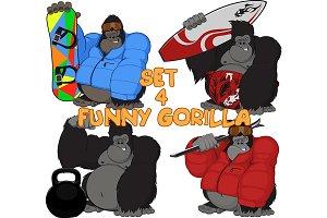 Set 4 funny gorilla