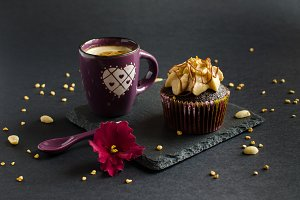 Chocolate cupcake with peanut cream