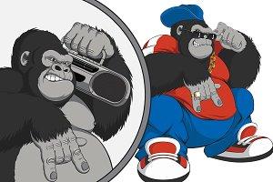 Vector illustration, gorilla