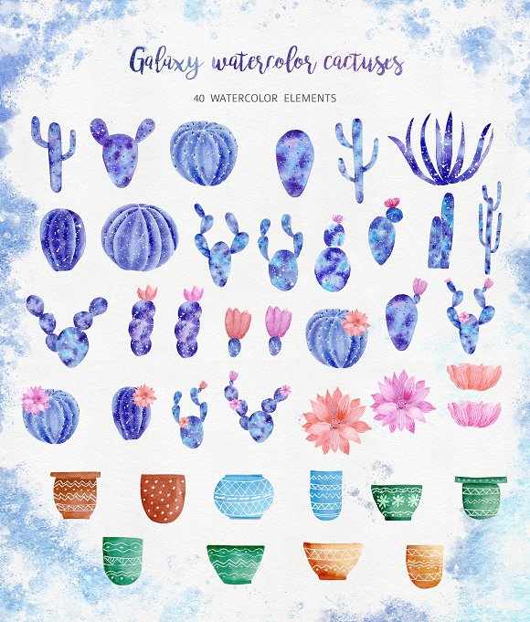 Watercolor Galaxy Cactus Collection in Illustrations - product preview 1