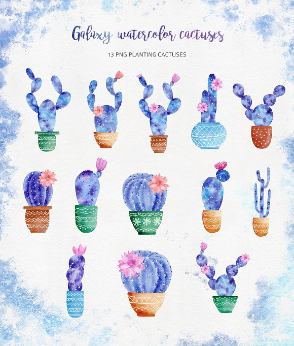 Watercolor Galaxy Cactus Collection in Illustrations - product preview 2