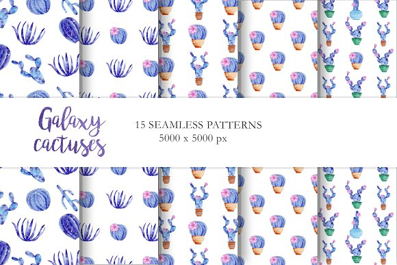 Watercolor Galaxy Cactus Collection in Illustrations - product preview 5