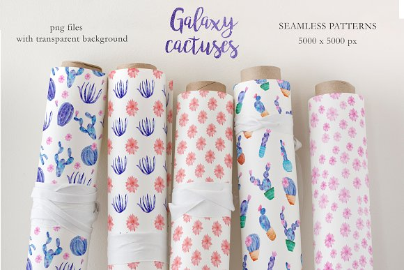 Watercolor Galaxy Cactus Collection in Illustrations - product preview 6
